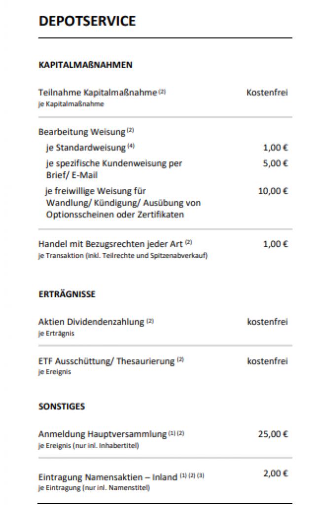 Trade Republic Preis und Leistungsverzeichnis