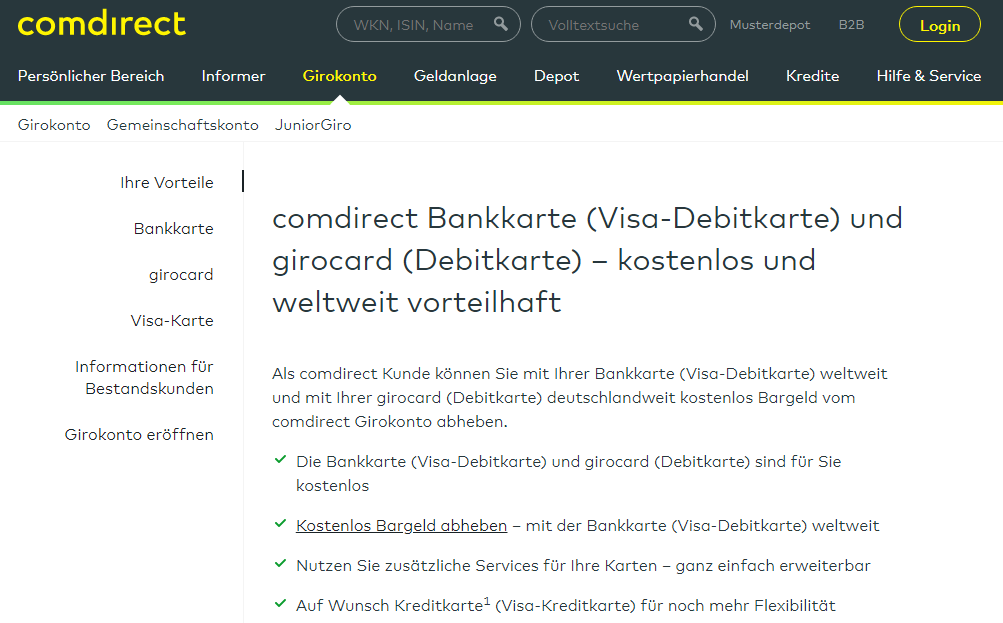Girokonto mit Kreditkarte comdirect
